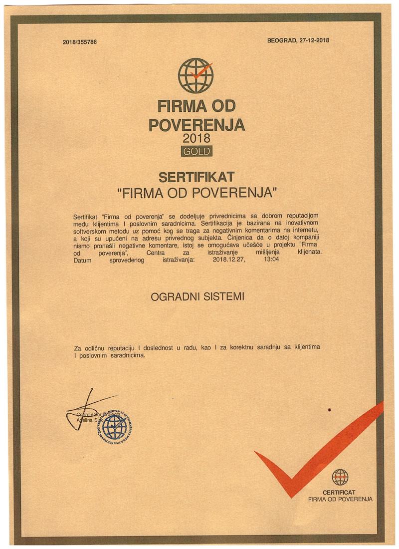 gold sertifikat o poverenju